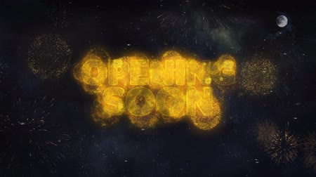tebliğ : Opening Soon Text Typography Reveal From Golden Firework Crackers Particles Night Sky 4k Background. Greeting card, Celebration, Party, Invitation, Gift, Event, Message, Holiday, Wish, Festival Stok Video