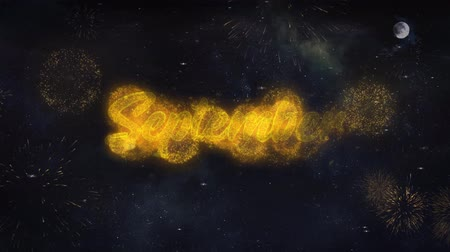 mángorlógép : September Text Typography Reveal From Golden Firework Crackers Particles Night Sky 4k Background. Greeting card, Celebration, Party, Invitation, Gift, Event, Message, Holiday, Wish Festival Stock mozgókép