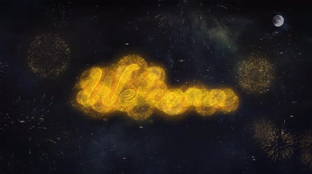 Войти : Welcome Text Typography Reveal From Golden Firework Crackers Particles Night Sky 4k Background. Greeting card, Celebration, Party, Invitation, Gift, Event, Message, Holiday, Wish Festival Стоковые видеозаписи