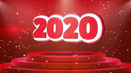 mángorlógép : 2020 Text Animation on 3d Stage Podium Carpet. Reval Red Curtain With Abstract Foil Confetti Blast, Spotlight, Glitter Sparkles, Loop 4k Animation.