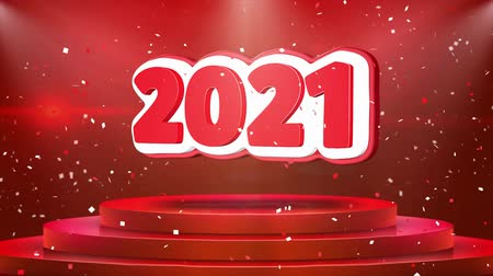 mensal : 2021 Text Animation on 3d Stage Podium Carpet. Reval Red Curtain With Abstract Foil Confetti Blast, Spotlight, Glitter Sparkles, Loop 4k Animation.