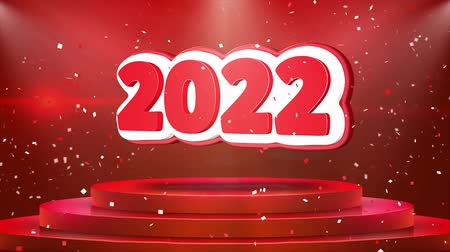 semanal : 2022 Text Animation on 3d Stage Podium Carpet. Reval Red Curtain With Abstract Foil Confetti Blast, Spotlight, Glitter Sparkles, Loop 4k Animation. Stock Footage