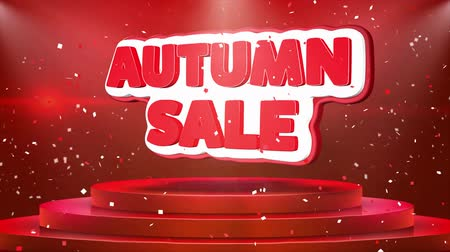 ayrılmak : Autumn Sale Text Animation on 3d Stage Podium Carpet. Reval Red Curtain With Abstract Foil Confetti Blast, Spotlight, Glitter Sparkles, Loop 4k Animation.