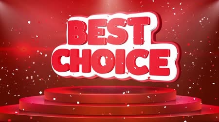 seleção : Best Choice Text Animation on 3d Stage Podium Carpet. Reval Red Curtain With Abstract Foil Confetti Blast, Spotlight, Glitter Sparkles, Loop 4k Animation. Stock Footage
