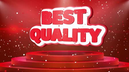 five stars : Best Quality Text Animation on 3d Stage Podium Carpet. Reval Red Curtain With Abstract Foil Confetti Blast, Spotlight, Glitter Sparkles, Loop 4k Animation.