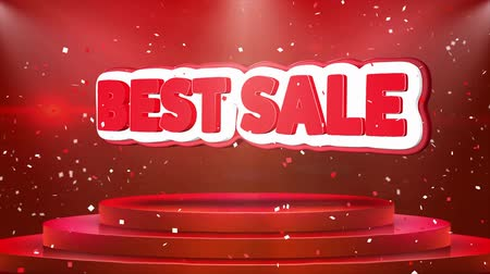 oklar : Best Sale Text Animation on 3d Stage Podium Carpet. Reval Red Curtain With Abstract Foil Confetti Blast, Spotlight, Glitter Sparkles, Loop 4k Animation.