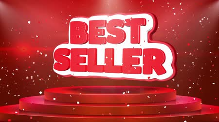 livraria : Best Seller Text Animation on 3d Stage Podium Carpet. Reval Red Curtain With Abstract Foil Confetti Blast, Spotlight, Glitter Sparkles, Loop 4k Animation.