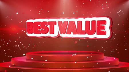 érték : Best Value Text Animation on 3d Stage Podium Carpet. Reval Red Curtain With Abstract Foil Confetti Blast, Spotlight, Glitter Sparkles, Loop 4k Animation.