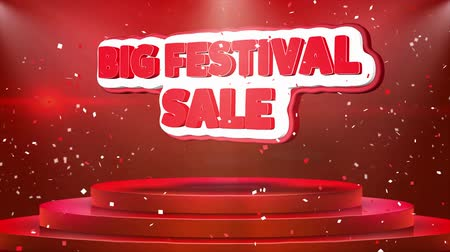 świety mikołaj : Big Festival Sale Text Animation on 3d Stage Podium Carpet. Reval Red Curtain With Abstract Foil Confetti Blast, Spotlight, Glitter Sparkles, Loop 4k Animation.