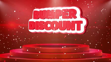 alku : Bumper Discount Text Animation on 3d Stage Podium Carpet. Reval Red Curtain With Abstract Foil Confetti Blast, Spotlight, Glitter Sparkles, Loop 4k Animation.