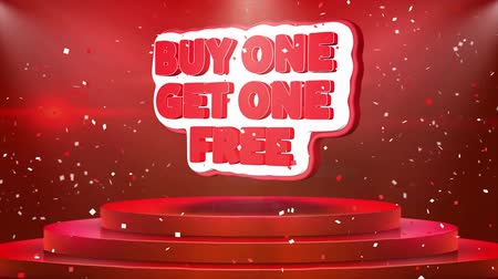 azalan : Buy One Get One Free Text Animation on 3d Stage Podium Carpet. Reval Red Curtain With Abstract Foil Confetti Blast, Spotlight, Glitter Sparkles, Loop 4k Animation. Stok Video