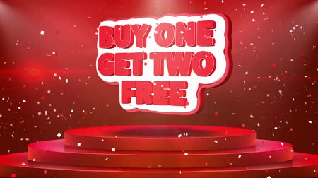 spadek : Buy One Get Two Free Text Animation on 3d Stage Podium Carpet. Reval Red Curtain With Abstract Foil Confetti Blast, Spotlight, Glitter Sparkles, Loop 4k Animation. Wideo
