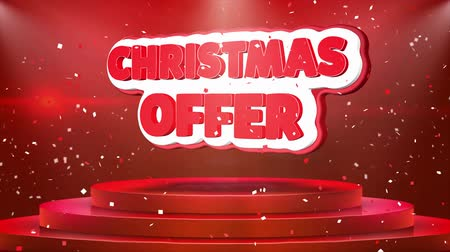 christmas ball gold : Christmas Offer Text Animation on 3d Stage Podium Carpet. Reval Red Curtain With Abstract Foil Confetti Blast, Spotlight, Glitter Sparkles, Loop 4k Animation.