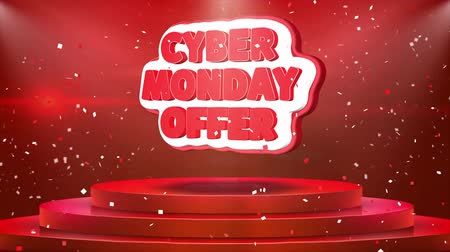 conectados : Cyber Monday Offer Text Animation on 3d Stage Podium Carpet. Reval Red Curtain With Abstract Foil Confetti Blast, Spotlight, Glitter Sparkles, Loop 4k Animation.