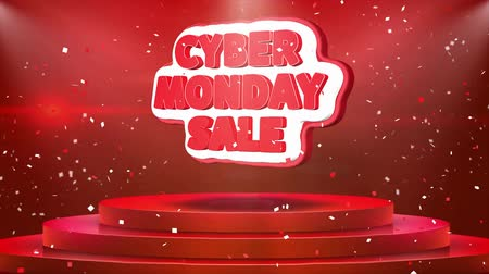 monção : Cyber Monday Sale Text Animation on 3d Stage Podium Carpet. Reval Red Curtain With Abstract Foil Confetti Blast, Spotlight, Glitter Sparkles, Loop 4k Animation. Stock Footage