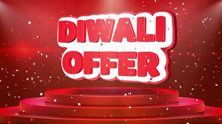 cinquantenne : Diwali Offer Text Animation on 3d Stage Podium Carpet. Reval Red Curtain With Abstract Foil Confetti Blast, Spotlight, Glitter Sparkles, Loop 4k Animation. Filmati Stock