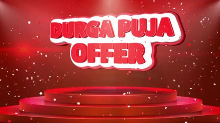 kolkata : Durga Puja Offer Text Animation on 3d Stage Podium Carpet. Reval Red Curtain With Abstract Foil Confetti Blast, Spotlight, Glitter Sparkles, Loop 4k Animation.