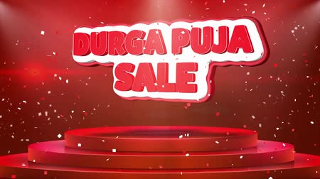 folyo : Durga Puja Sale Text Animation on 3d Stage Podium Carpet. Reval Red Curtain With Abstract Foil Confetti Blast, Spotlight, Glitter Sparkles, Loop 4k Animation.