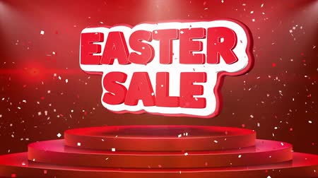 seasonal sale : Easter Sale Text Animation on 3d Stage Podium Carpet. Reval Red Curtain With Abstract Foil Confetti Blast, Spotlight, Glitter Sparkles, Loop 4k Animation. Stock Footage