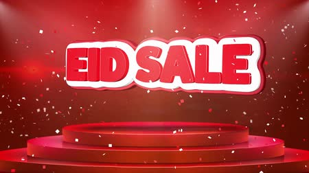 Аллах : Eid Sale Text Animation on 3d Stage Podium Carpet. Reval Red Curtain With Abstract Foil Confetti Blast, Spotlight, Glitter Sparkles, Loop 4k Animation.