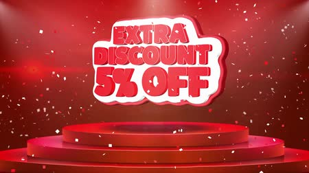 ekstra : 5 Off Extra Discount Text Animation on 3d Stage Podium Carpet. Reval Red Curtain With Abstract Foil Confetti Blast, Spotlight, Glitter Sparkles, Loop 4k Animation. Stok Video