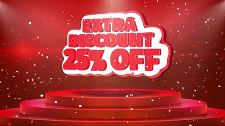 procent : 25 Off Extra Discount Text Animation on 3d Stage Podium Carpet. Reval Red Curtain With Abstract Foil Confetti Blast, Spotlight, Glitter Sparkles, Loop 4k Animation.