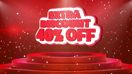 ekstra : 40 Off Extra Discount Text Animation on 3d Stage Podium Carpet. Reval Red Curtain With Abstract Foil Confetti Blast, Spotlight, Glitter Sparkles, Loop 4k Animation.