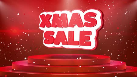 folyo : Xmas Sale Text Animation on 3d Stage Podium Carpet. Reval Red Curtain With Abstract Foil Confetti Blast, Spotlight, Glitter Sparkles, Loop 4k Animation.