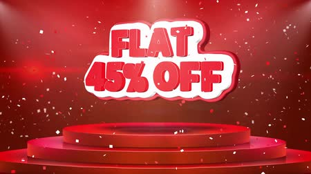 folyo : Flat 45% off Text Animation on 3d Stage Podium Carpet. Reval Red Curtain With Abstract Foil Confetti Blast, Spotlight, Glitter Sparkles, Loop 4k Animation. Stok Video