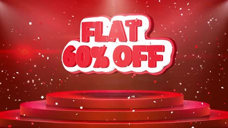 cupom : Flat 60% off Text Animation on 3d Stage Podium Carpet. Reval Red Curtain With Abstract Foil Confetti Blast, Spotlight, Glitter Sparkles, Loop 4k Animation.