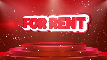 ev idaresi : For Rent Text Animation on 3d Stage Podium Carpet. Reval Red Curtain With Abstract Foil Confetti Blast, Spotlight, Glitter Sparkles, Loop 4k Animation.