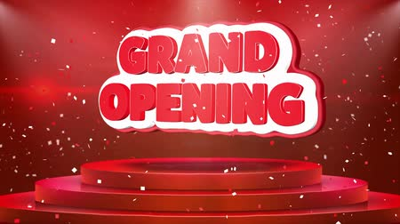 prim : Grand Opening Text Animation on 3d Stage Podium Carpet. Reval Red Curtain With Abstract Foil Confetti Blast, Spotlight, Glitter Sparkles, Loop 4k Animation.