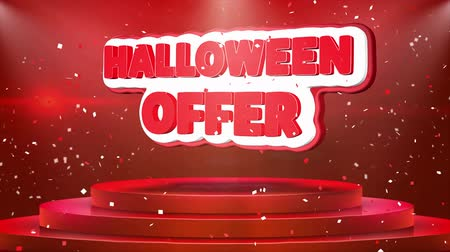 flyer design : Halloween-Angebotstextanimation auf 3d Stage Podium Carpet. Reval Red Curtain mit abstrakter Folie Konfetti Blast, Spotlight, Glitter Sparkles, Loop 4k Animation. Videos