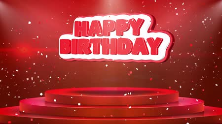 レタリング : Happy Birthday Text Animation on 3d Stage Podium Carpet. Reval Red Curtain With Abstract Foil Confetti Blast, Spotlight, Glitter Sparkles, Loop 4k Animation. 動画素材