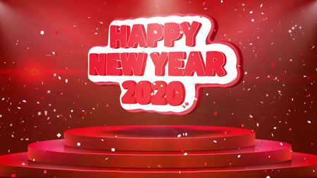 feliz : Happy New year 2020 Text Animation on 3d Stage Podium Carpet. Reval Red Curtain With Abstract Foil Confetti Blast, Spotlight, Glitter Sparkles, Loop 4k Animation. Stock Footage