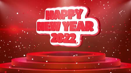 florete : Happy New year 2022 Text Animation on 3d Stage Podium Carpet. Reval Red Curtain With Abstract Foil Confetti Blast, Spotlight, Glitter Sparkles, Loop 4k Animation. Vídeos