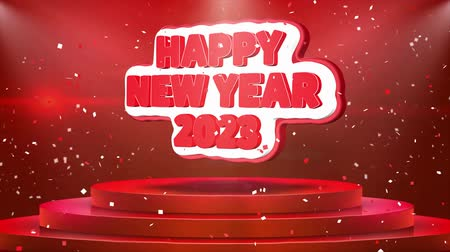 podyum : Happy New year 2023 Text Animation on 3d Stage Podium Carpet. Reval Red Curtain With Abstract Foil Confetti Blast, Spotlight, Glitter Sparkles, Loop 4k Animation.