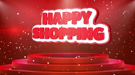 шопоголика : Happy Shopping Text Animation on 3d Stage Podium Carpet. Reval Red Curtain With Abstract Foil Confetti Blast, Spotlight, Glitter Sparkles, Loop 4k Animation.