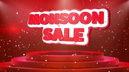 yüzde : Monsoon Sale Text Animation on 3d Stage Podium Carpet. Reval Red Curtain With Abstract Foil Confetti Blast, Spotlight, Glitter Sparkles, Loop 4k Animation.