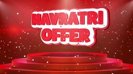 puja : Navratri Offer Text Animation on 3d Stage Podium Carpet. Reval Red Curtain With Abstract Foil Confetti Blast, Spotlight, Glitter Sparkles, Loop 4k Animation. Stock Footage