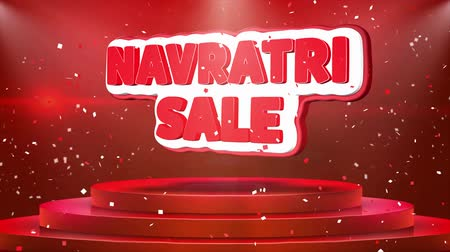 puja : Navratri Sale Text Animation on 3d Stage Podium Carpet. Reval Red Curtain With Abstract Foil Confetti Blast, Spotlight, Glitter Sparkles, Loop 4k Animation.