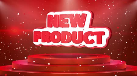 объявлять : New Product Text Animation on 3d Stage Podium Carpet. Reval Red Curtain With Abstract Foil Confetti Blast, Spotlight, Glitter Sparkles, Loop 4k Animation.