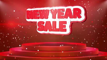 inkoop : New Year Sale Text Animation on 3d Stage Podium Carpet. Reval Red Curtain With Abstract Foil Confetti Blast, Spotlight, Glitter Sparkles, Loop 4k Animation.