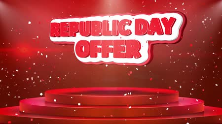folga : Republic Day Offer Text Animation on 3d Stage Podium Carpet. Reval Red Curtain With Abstract Foil Confetti Blast, Spotlight, Glitter Sparkles, Loop 4k Animation.