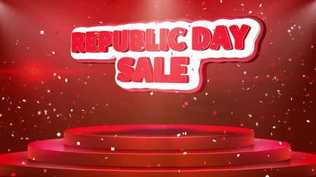 safran : Republic Day Sale Text Animation on 3d Stage Podium Carpet. Reval Red Curtain With Abstract Foil Confetti Blast, Spotlight, Glitter Sparkles, Loop 4k Animation. Stok Video