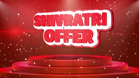 puja : Shivratri Offer Text Animation on 3d Stage Podium Carpet. Reval Red Curtain With Abstract Foil Confetti Blast, Spotlight, Glitter Sparkles, Loop 4k Animation.