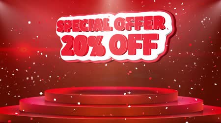 yirmi : 20 off Special Offer Text Animation on 3d Stage Podium Carpet. Reval Red Curtain With Abstract Foil Confetti Blast, Spotlight, Glitter Sparkles, 4k Animation.