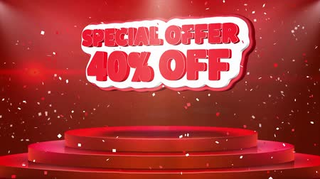 por cento : 40 off Special Offer Text Animation on 3d Stage Podium Carpet. Reval Red Curtain With Abstract Foil Confetti Blast, Spotlight, Glitter Sparkles, 4k Animation.