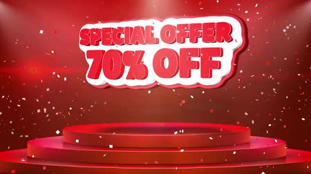 végső : 70 off Special Offer Text Animation on 3d Stage Podium Carpet. Reval Red Curtain With Abstract Foil Confetti Blast, Spotlight, Glitter Sparkles, 4k Animation. Stock mozgókép