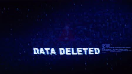 excluir : Data Deleted Text Digital Noise Glitch Effect Tv Screen Background. Login and Password With System Error Security ,Hacking Alert , Cyber Crime Attack Computer Error Distortion Message . Stock Footage